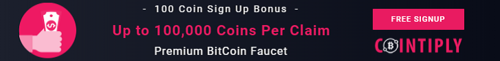 Contiply Premium Bitcoin Faucet - Up To 100000 Coins Per Claim! 100 Coin Signup Bonus!